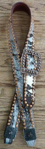 Silver metallic and brown hair-on hide belt style headstall