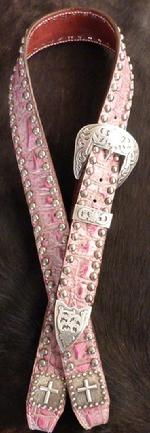 Belt Style headstall in Fuschia Pink croc. w/ Fancy antique silver spots and cross hardware.