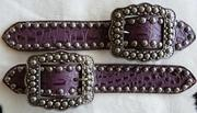 Belt Style Spur Straps. Purple croc overlay w/ fancy ant. silver spots and buckles.