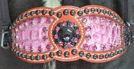 Fuschia pink croc inlay. Fushcia pink Sqarovskis and blacked-out conchos w/ black spots.
