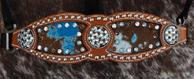 Bling Inlay Noseband. Chestnut oil Herman Oak leather, Turquoise acid wash hide, Aquamarine, Smoke Topaz and Clear Crystal Swarovskis accent the Antique Silver rope edge hardware perfectly!