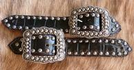 Belt Style spur straps. Black Croc. Belt Style spur straps w/ antique silver fancy spots and buckles.