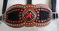 Bling Inlay Halter. Chestnut oil Herman Oak contoured inlay halter w/ black hair-on inlays, Light Siam and Jet Swaroskis set off w/ plenty of silver spots. Beautiful!