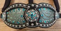 Antique Turquoise Crocodile print Inlay bling halter.