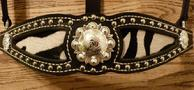 Baby zebra inlay halter. Black leather w/ baby zebra inlay, silver spots and brite shine berry hardware.