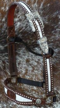 Inlay, buckstitched, belt style halter w/ Cowperson hardware. Colors can be changed at no extra charge!