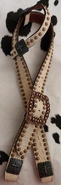 Bone croc overlay belt style headstall w/ single ear piece..