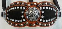 Bling Inlay Bronc Halter. Herman Oak  chestnut oil,  Black hair-on inlay halter. Black and Silver spots and Black Horse Shoe brand Black filligree hardware with Clear Crystal Swarovskis.