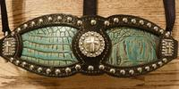 Black leather and Antique Turquoise Croc. inlay halter.